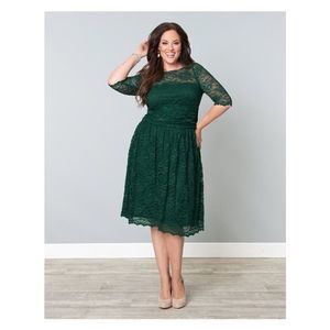 Lane Bryant Green Lace Fit and Flare Dress 18